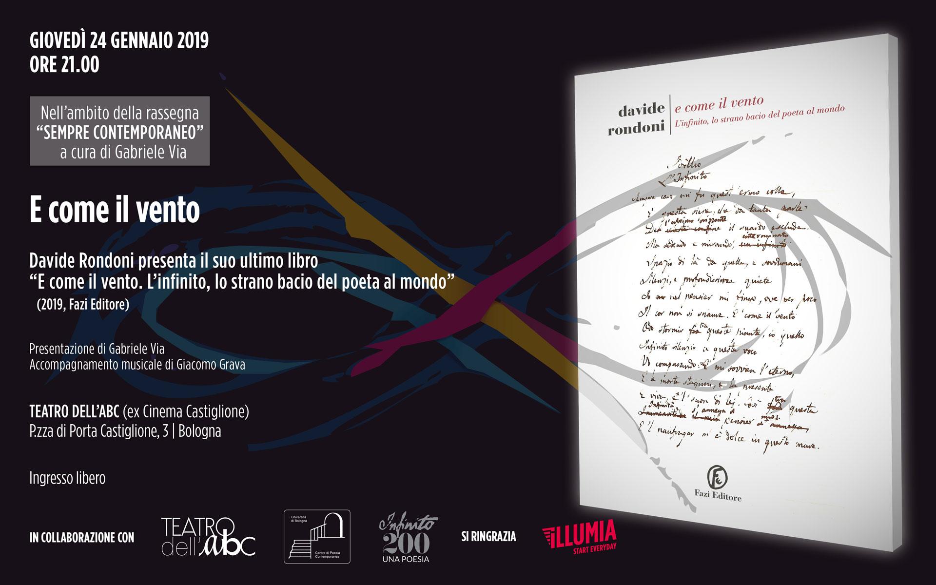Evento 24 gennaio 2019 E come il vento - Davide Rondoni